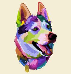 cute husky dog on pop art style vector image