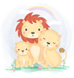 cute lion family vector image