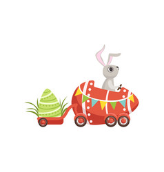 Cute little bunny driving easter red car egg vector