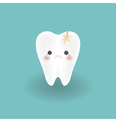 cute sad cracked white tooth cries from hurting vector image