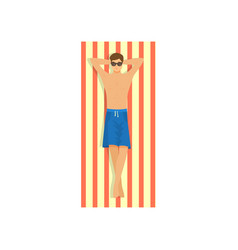 Cute young man with sunglasses taking sunbathing vector