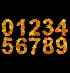 digits consisting of autumn leaves vector image