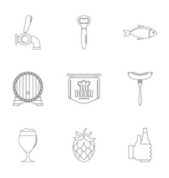 dinnertime icons set outline style vector image