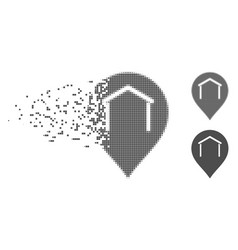 Disappearing pixel halftone hangar map marker icon vector