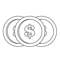 dollar coin icon outline style vector image