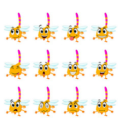 dragonfly with different facial expressions vector image