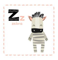 Educational alphabet letter z for zebra for kids vector