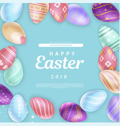 elegant writing amidst easter eggs vector image
