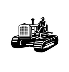 Farmer driving vintage farm tractor side view vector