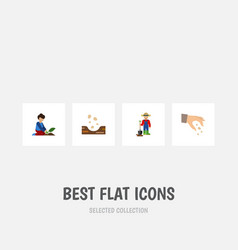 Flat icon plant set of sow man seed and other vector