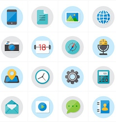 Flat Icons For Media Icons and Communication Icons vector image