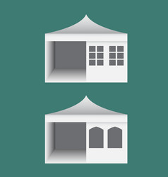 Folding tent with windows in europe style vector