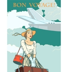 girl passenger plane Bon voyage vector image