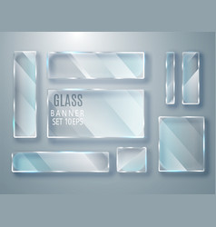 Glass transparent plates set glass modern vector