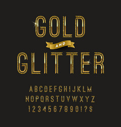 Gold and glitter typeface golden font design vector