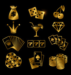 Golden gambling poker card game casino luck vector