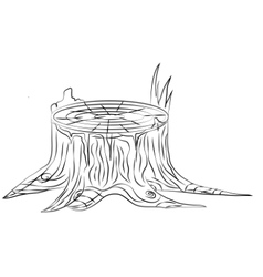 Hand drawn old stump black and white outline vector image