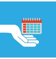 Hand hold icon smartphone and calendar design flat vector