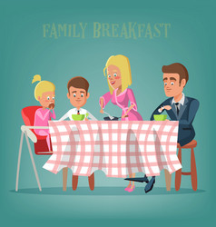 happy family having breakfast in kitchen vector image