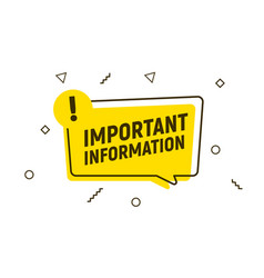 Important attention notice sign announce message vector