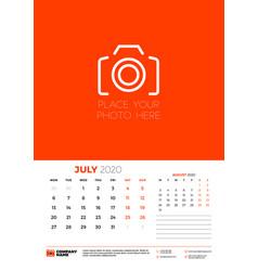 July 2020 wall calendar planner template week vector