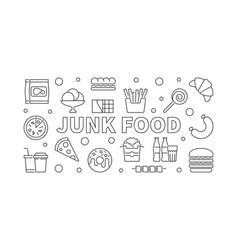 junk food horizontal banner unhealthy food vector image