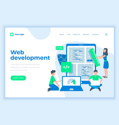landing page template web development concept with vector image