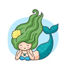Lying mermaid with green wavy hair vector