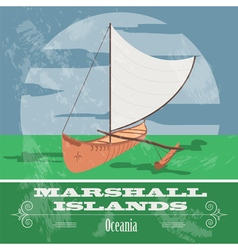 Marshall islands Polynesian canoeing Retro styled vector image