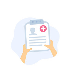 medical history patient file in hands vector image