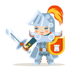 Medieval female knight woman warrior girl fantasy vector