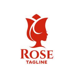 Modern beauty flower red rose logo vector
