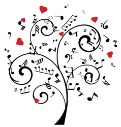 Music tree with hearts and notes vector
