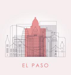 Outline el paso skyline with landmarks vector