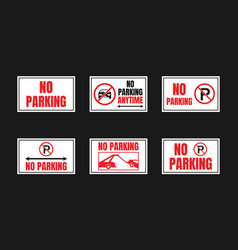 parking is prohibited icon set no signs vector image