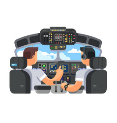 pilots in cockpit plane flat design vector image