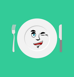 plate winks emoji empty dish isolated cheerful vector image