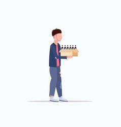 Poor man carrying box with empty bottles beggar vector