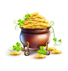 pot with gold coins for saint vector image