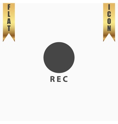 Rec button flat icon vector