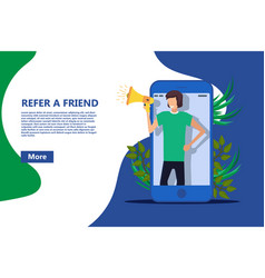 Refer a friend business poster referral person vector