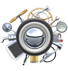 Retro car parts concept vector