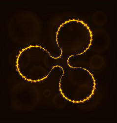 Ripple digital currency silhouette of lights vector