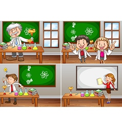 Science classrooms with teachers vector