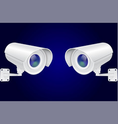 security camera set white cctv surveillance vector image