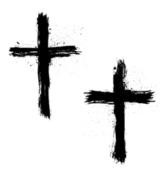 Set abstract grunge crosses vector
