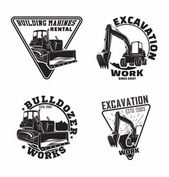 Set excavation work emblems design vector