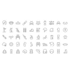 set line icons ski sport vector image