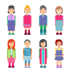 set of females characters in flat design vector image