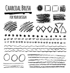 Set of grunge charcoal brush strokes and elements vector